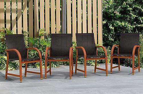Amazonia Bahamas 4-Piece Outdoor Dining Sling Armchair Set   Eucalyptus Wood   Ideal