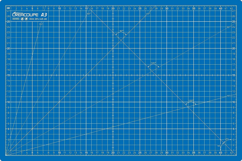 planche de d/écoupe pour couture,patchwork,cutter rotatif Tapis de d/écoupe auto-cicatrisant BLEU 45x30cm A3 /gradu/é en CM surface matte antid/érapante