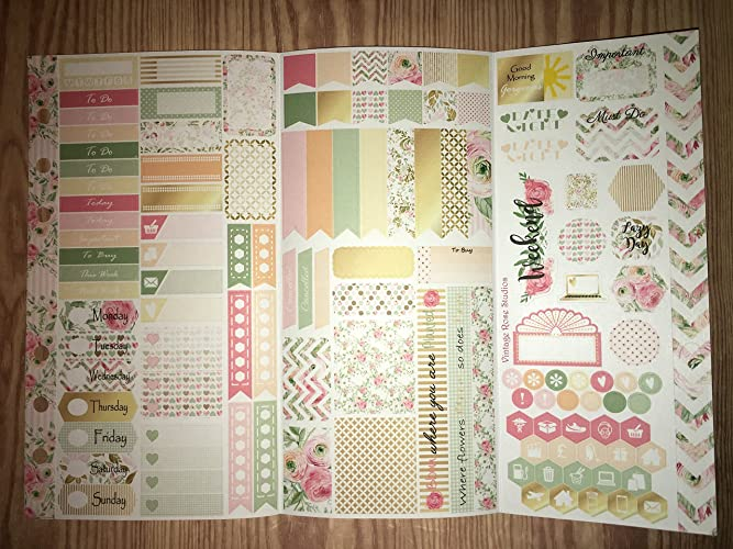 amazon com rose personal planner sticker kit tri fold for all
