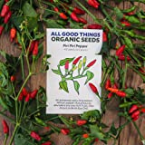 All Good Things Organic Seeds Piri Piri / African Bird's Eye Pepper (Capsicum frutescens) Seeds (~40): Certified Organic, Non-GMO, Heirloom, Open Pollinated Seeds from the United States