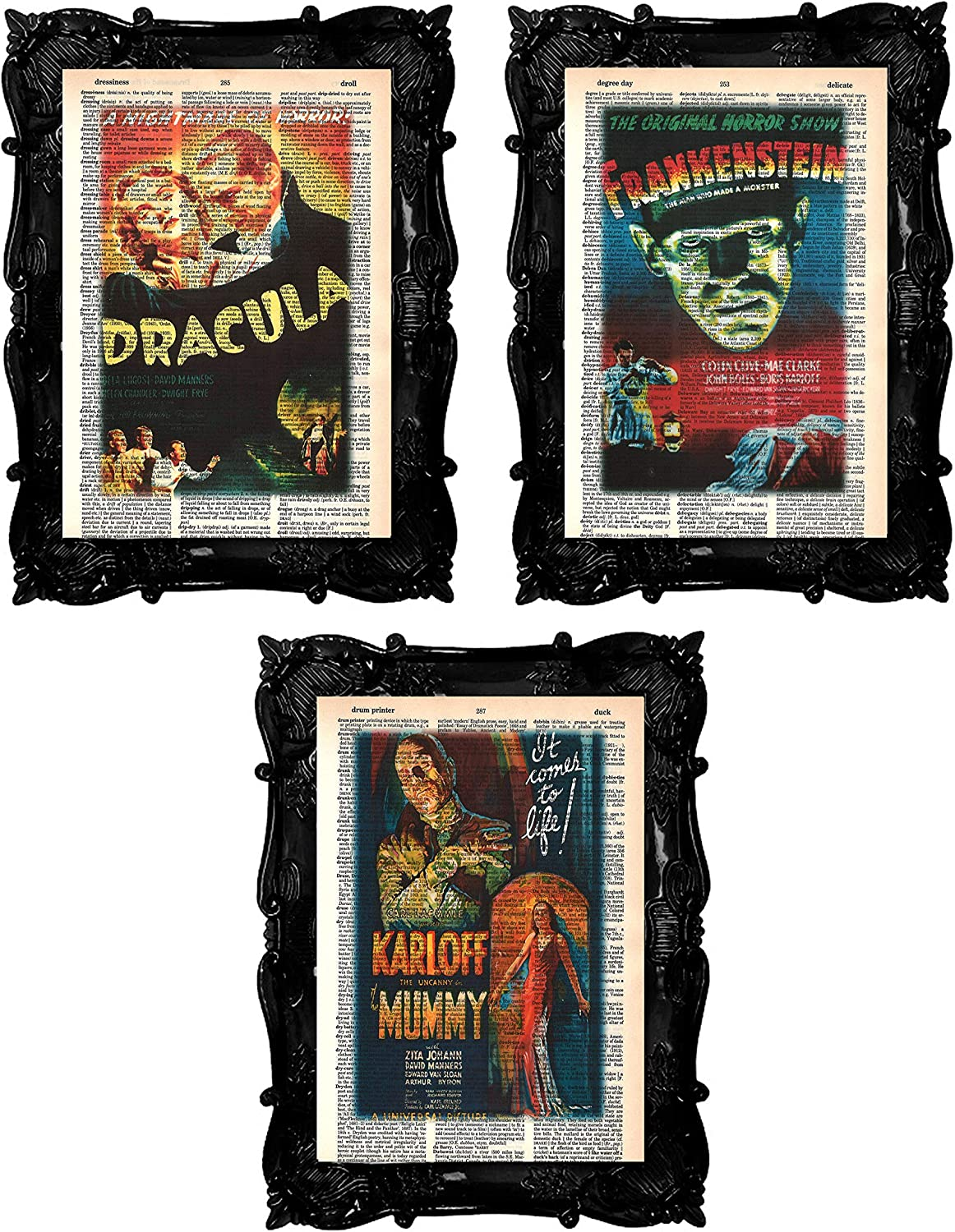 Vintage Horror Movie Posters Set of (3) Dracula Frankenstein The Mummy Prints Scary Horror Movie Monster Dictionary Art Prints