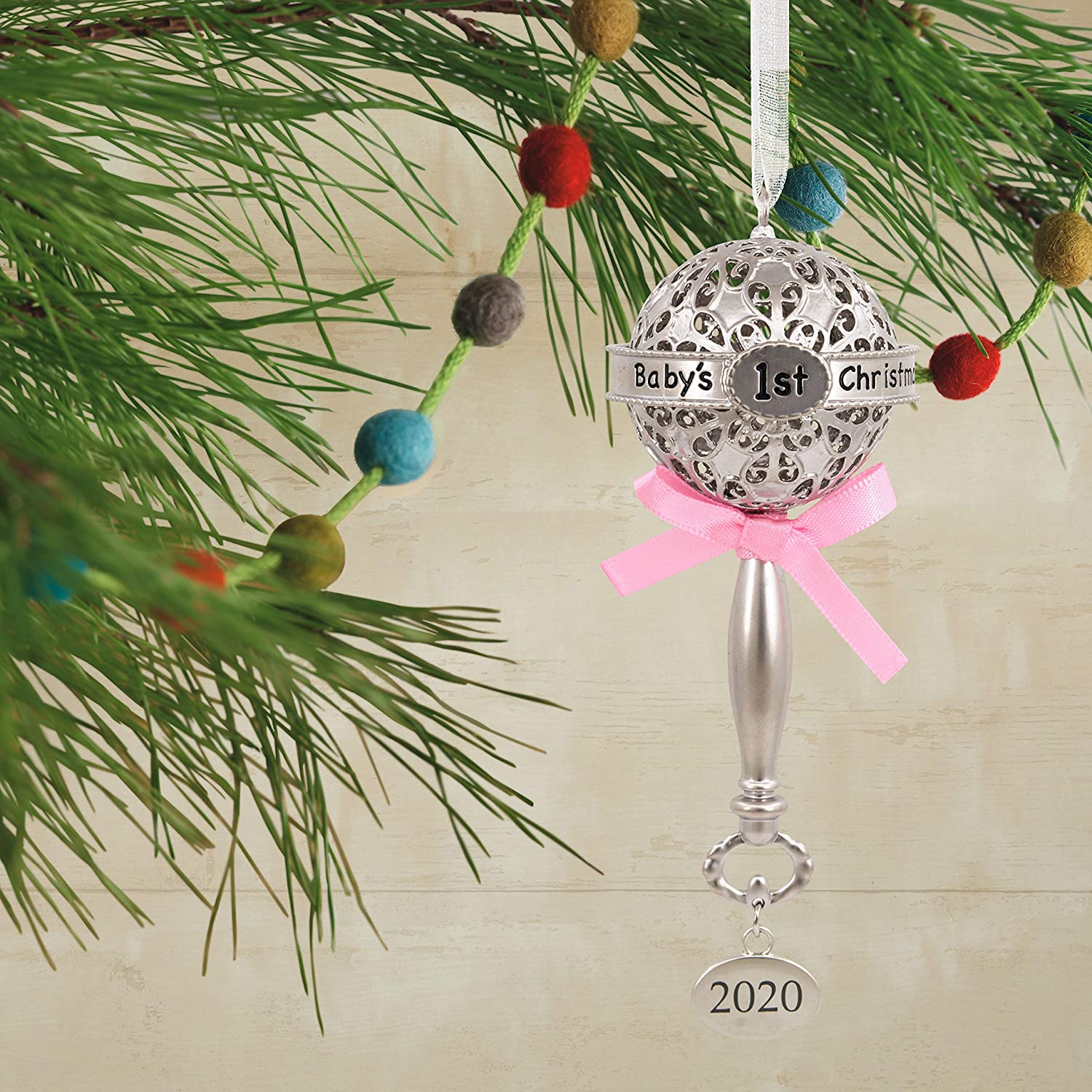 Metal Hallmark Ornament 2020 Year-Dated Premium Babys First Christmas Silver Baby Rattle with Pink Ribbon