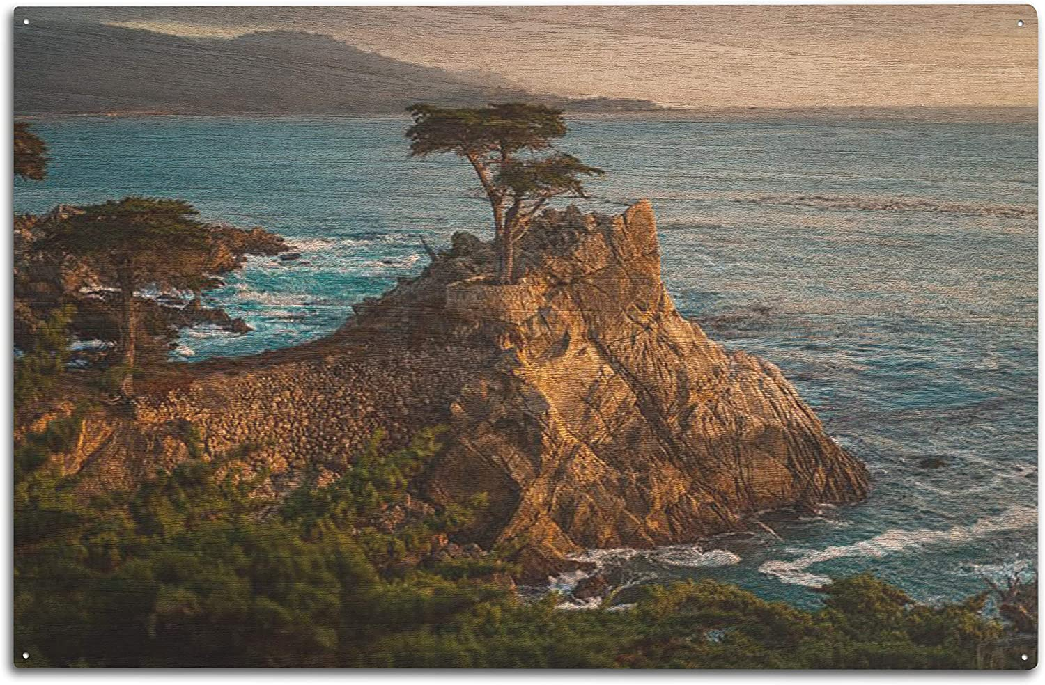 Lone Cypress Tree on The Rocky Shores of Carmel, California 9023593 (10x15 Wood Wall Sign, Wall Decor Ready to Hang)