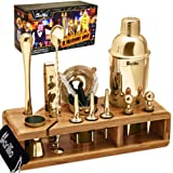 Gold 23-Piece Bartender Kit Cocktail Shaker Set by BARILLIO: Stainless Steel Bar Tools With Sleek Bamboo Stand, Velvet Carry