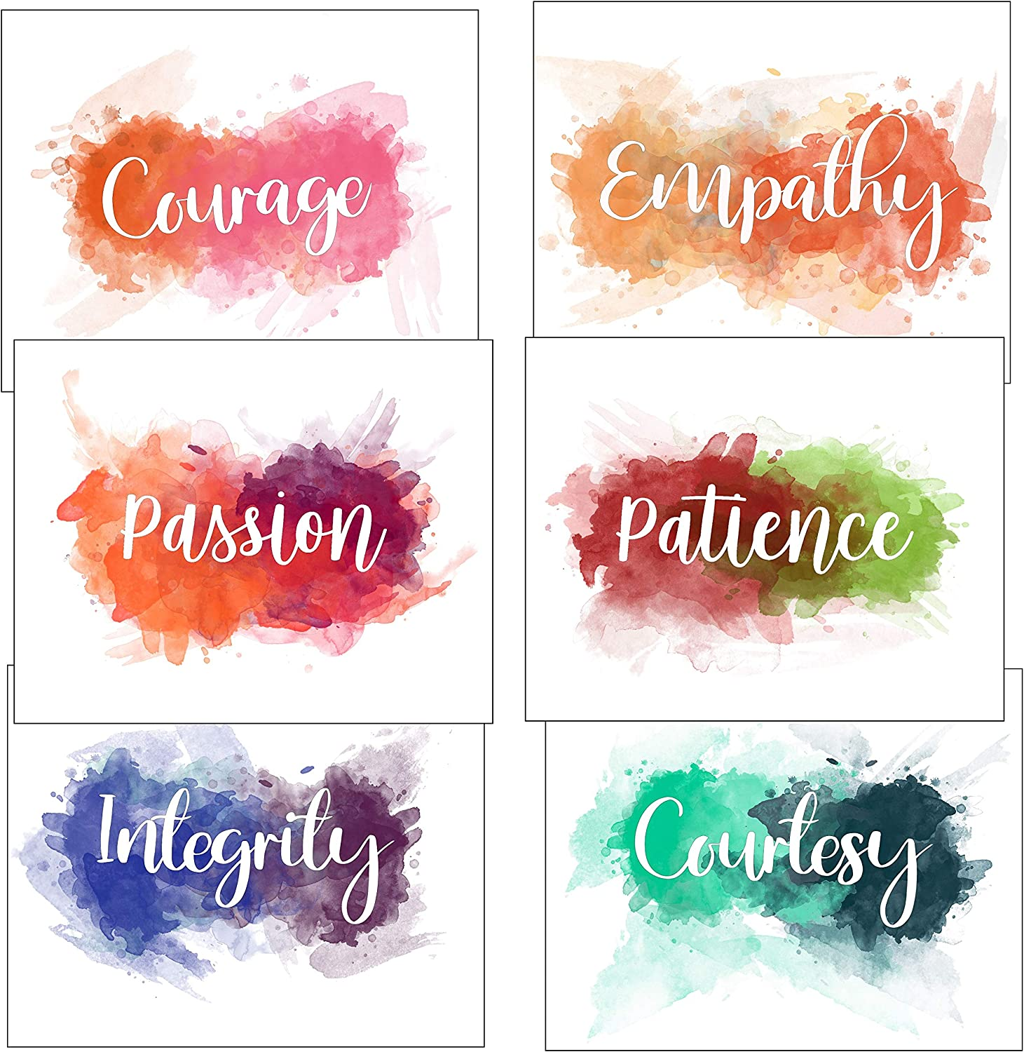 Istrion Inspirational Wall Art Best Human Qualities Watercolor Abstract Colorful Wall Decor Motivational Poster Kids Teens Adults Home Office School Classroom Gym Set of 6 Prints 8