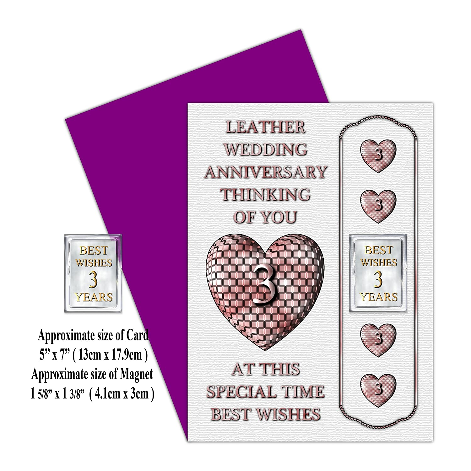 Your 3rd Wedding Anniversary Card With Removable Magnet Gift