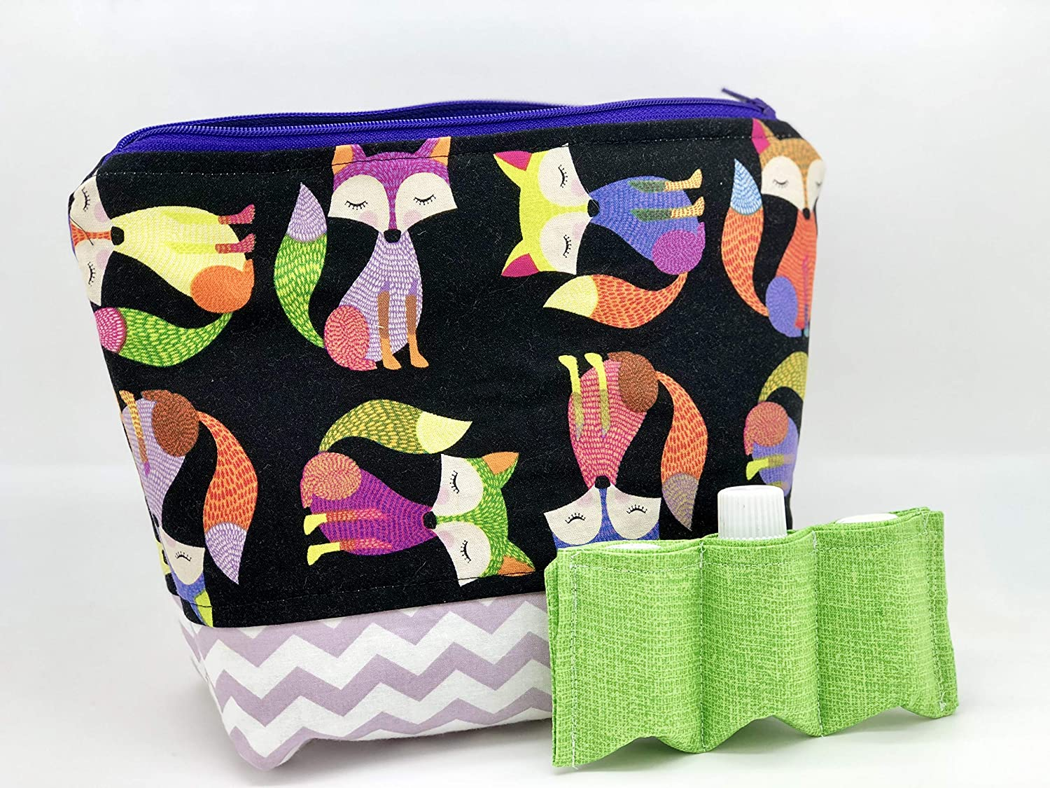 oils 15 ml 5 ml Young Living Doterra ~ Foxes chevron Essential Oil Bag for travel case with removable padded slots-Holds 22