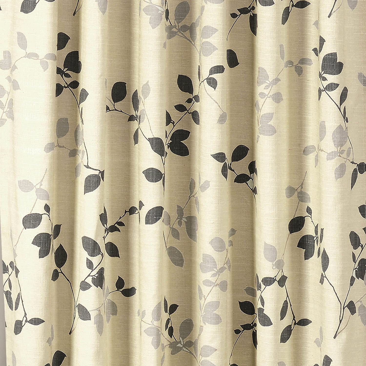 Window Elements Meridian Printed Cotton Blend Rod Pocket and Back Tabs 104 x 84 Curtain Panel Pair, Charcoal