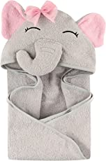 Hudson Baby Animal Face Hooded Towel, Pretty Elephant, Una talla