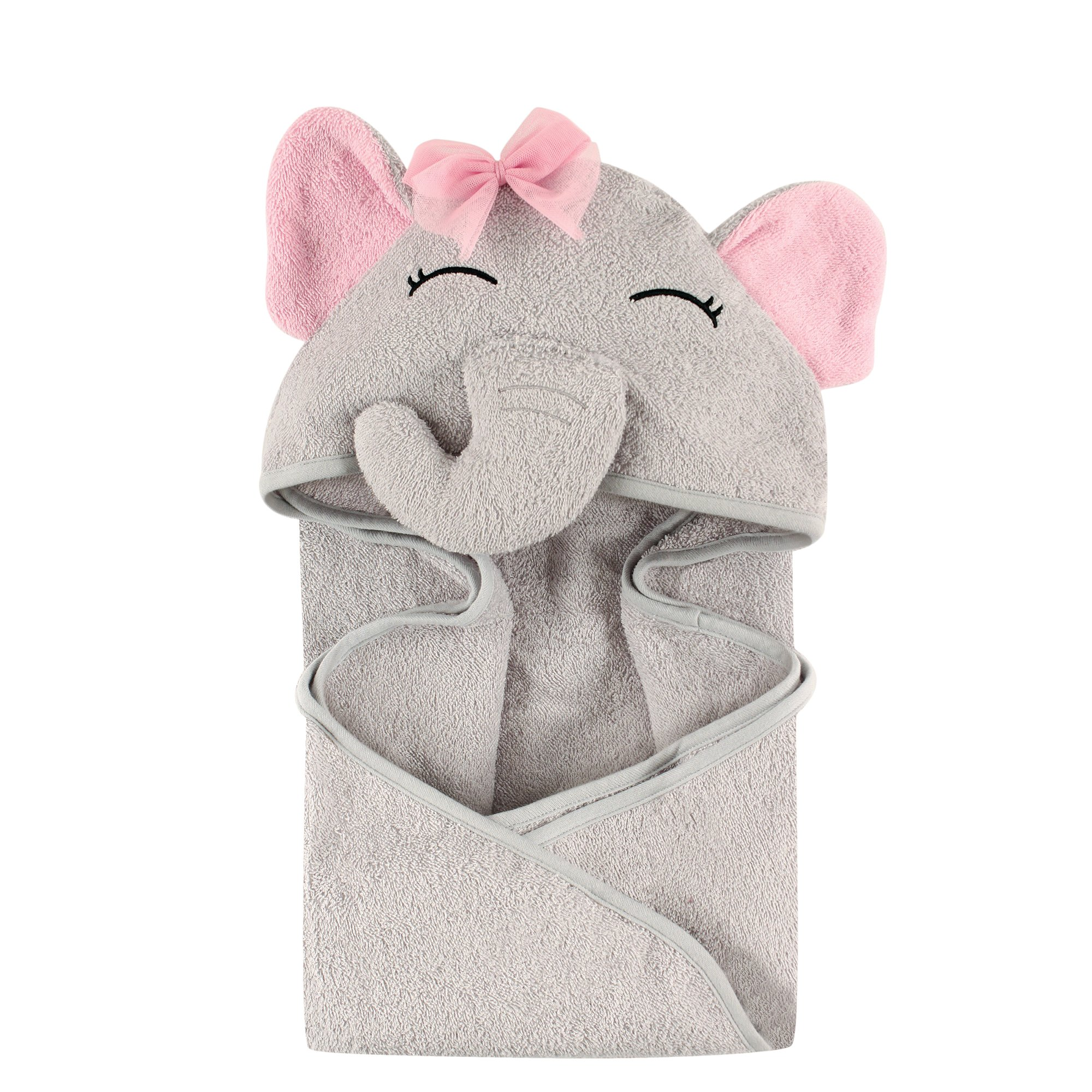 Hudson Baby Unisex Baby Animal Face Hooded Towel, Pretty Elephant 1-Pack, One Size by Hudson Baby