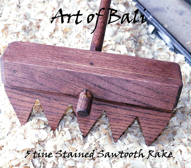 "Art of Bali 48"" 7 Tine Stained Saw Tooth Zen Garden Rake – Art of Bali Original"