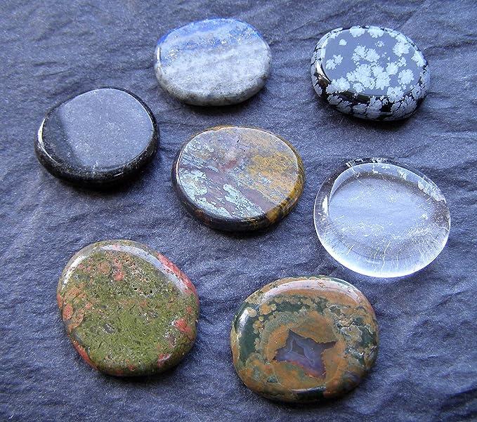 Juego de 7 piedras de Reiki palma (preocupación piedras) 26 mm x 22 mm x 6 mm (60g) Approx - hierro de tigre, lapislázuli, Obsidiana Negra, Unakite, ...