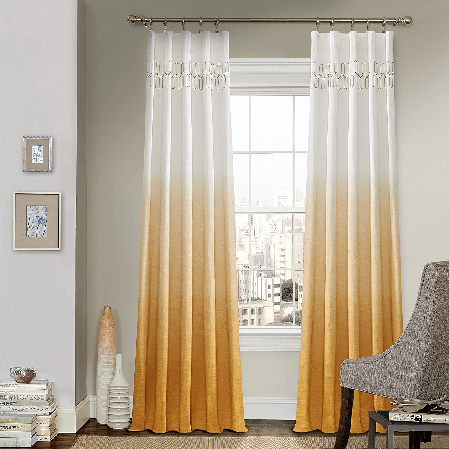 colored drapes block rod panel curtain curtains color panels set of two shower gold
