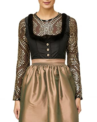c191d765ee6c Body Bluse, Dirndlbluse,Gr. 36 38 Dirndlbody, Kann auch ohne Dirndl  getragen werden schwarz gold, lange Ärmel super Glitzer tolles Geschenk  Bluse ...
