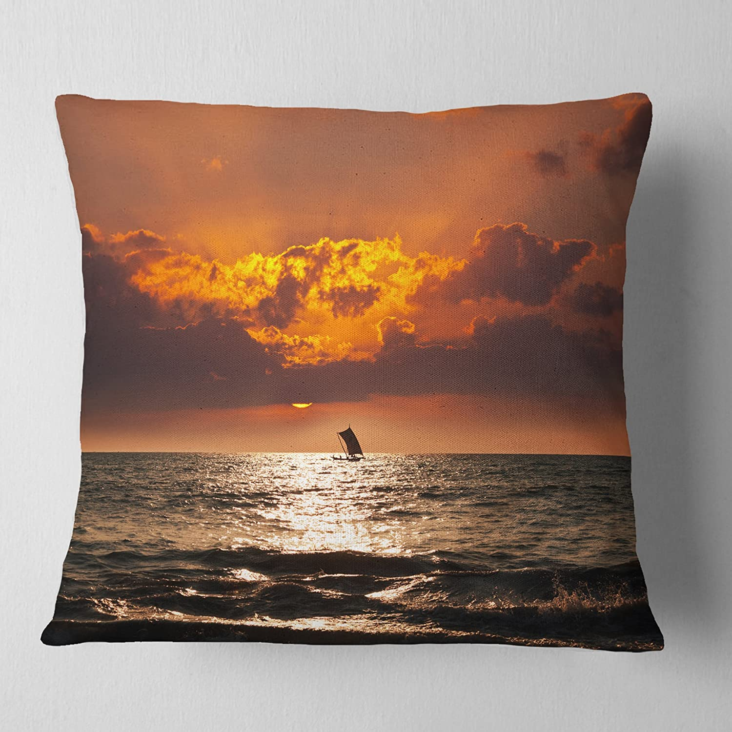 X 26 In Designart Cu12511 26 26 Sunset Beach With Distant Sail Boat Seashore Cushion Cover For Living Room Insert Printed On Both Side In Sofa Throw Pillow 26 In Throw Pillow Covers Decorative