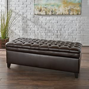 Christopher Knight Home 296865 Sheffield PU Brown Tufted Storage Ottoman