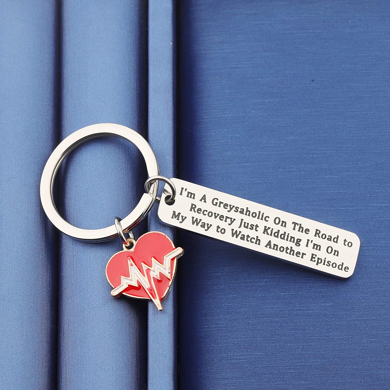 TGBJE I/'m A Greysaholic On The Road to Recovery Keychain Greys Anatomy Inspired Gift for Greys Anatomy Fans