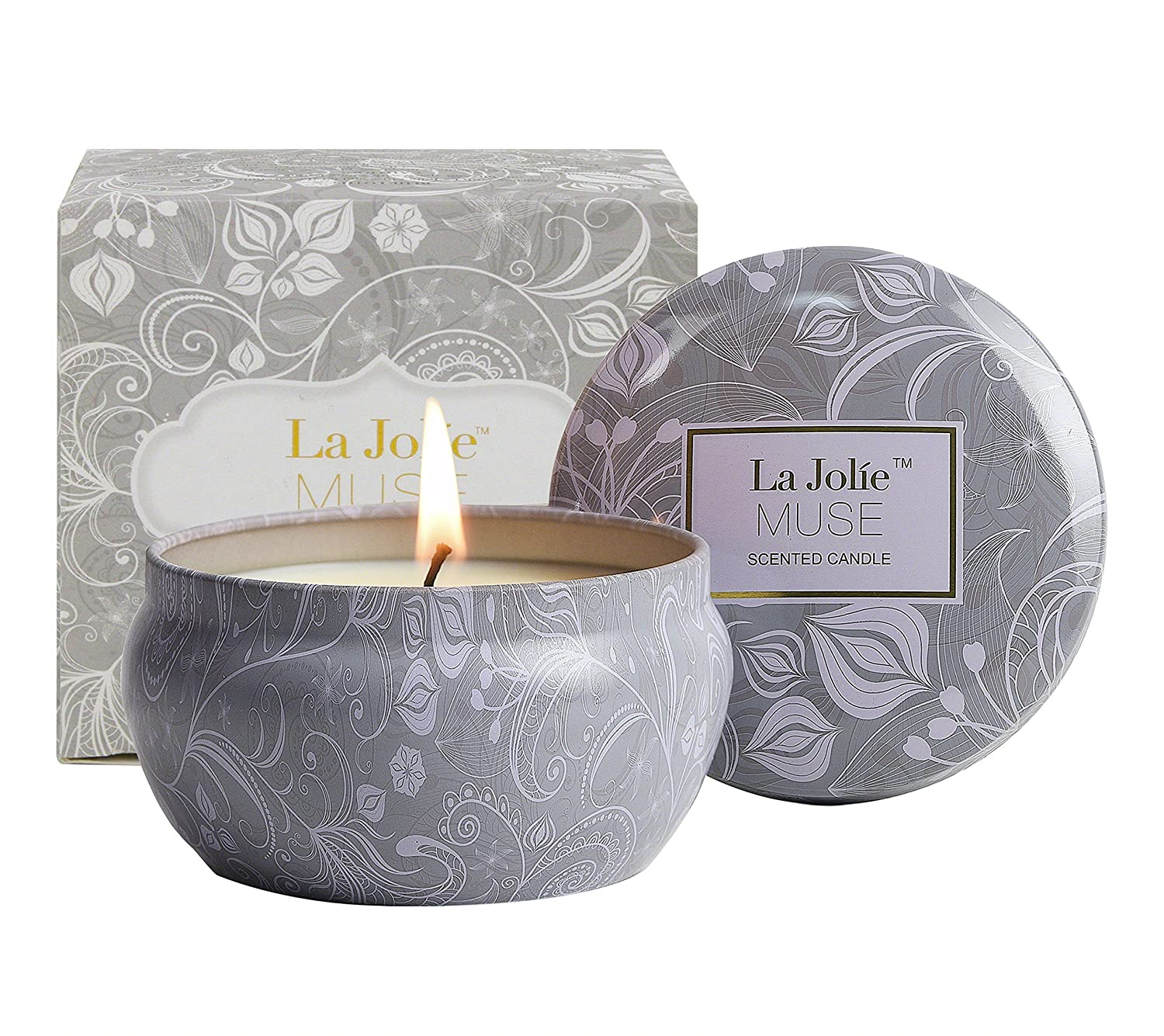 LA JOLIE MUSE Scented Candles Blue Lotus Aromatherapy Candle Soy Wax, 8.1oz Stress Relief Travel Tin, Fresh and Clean FBA_LA JOLIE MUSE