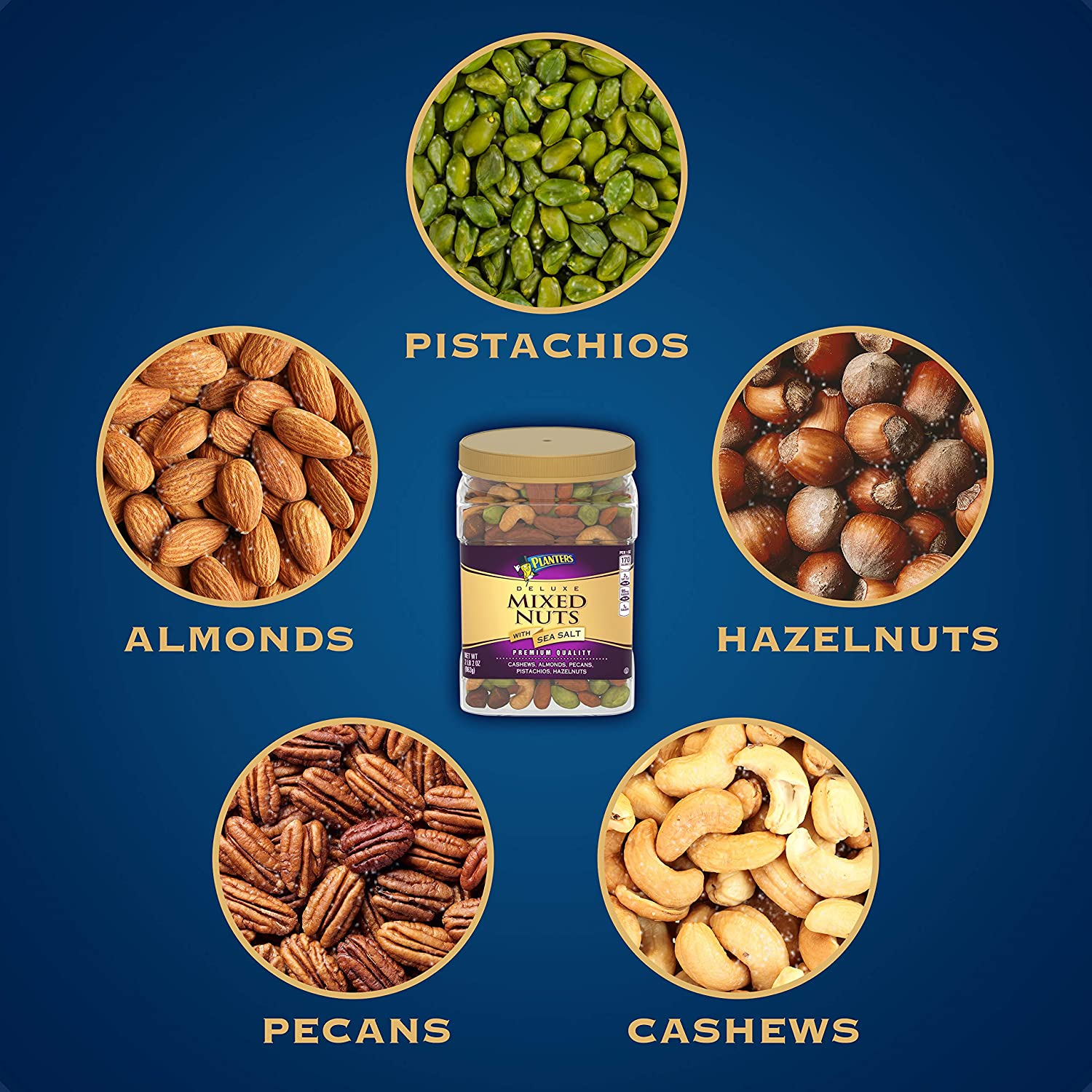 B008YK1U16 PLANTERS Deluxe Salted Mixed Nuts, 34 oz. Resealable Canister   Contains Cashews, Almonds, Pecans, Pistachios & Hazelnuts Seasoned with Sea Salt 819jQMHWZEL