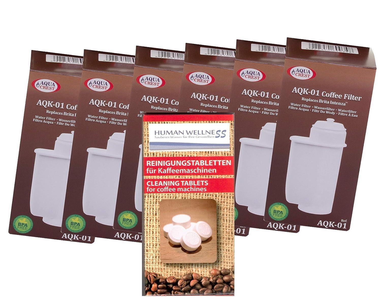 6 x AQK-01 Wasserfilter ersetzen BRITA INTENZA Nr. TCZ7003 - TCZ7033 - TZ70003 - 575491 - 467873 Filterkartusche für Bosch / Siemens EQ.3 EQ.6 EQ.8 EQ.9 / Neff / Gaggenau Kaffeemaschine Kaffeevollautomat + 10 Reinigungstabs EcoAqua