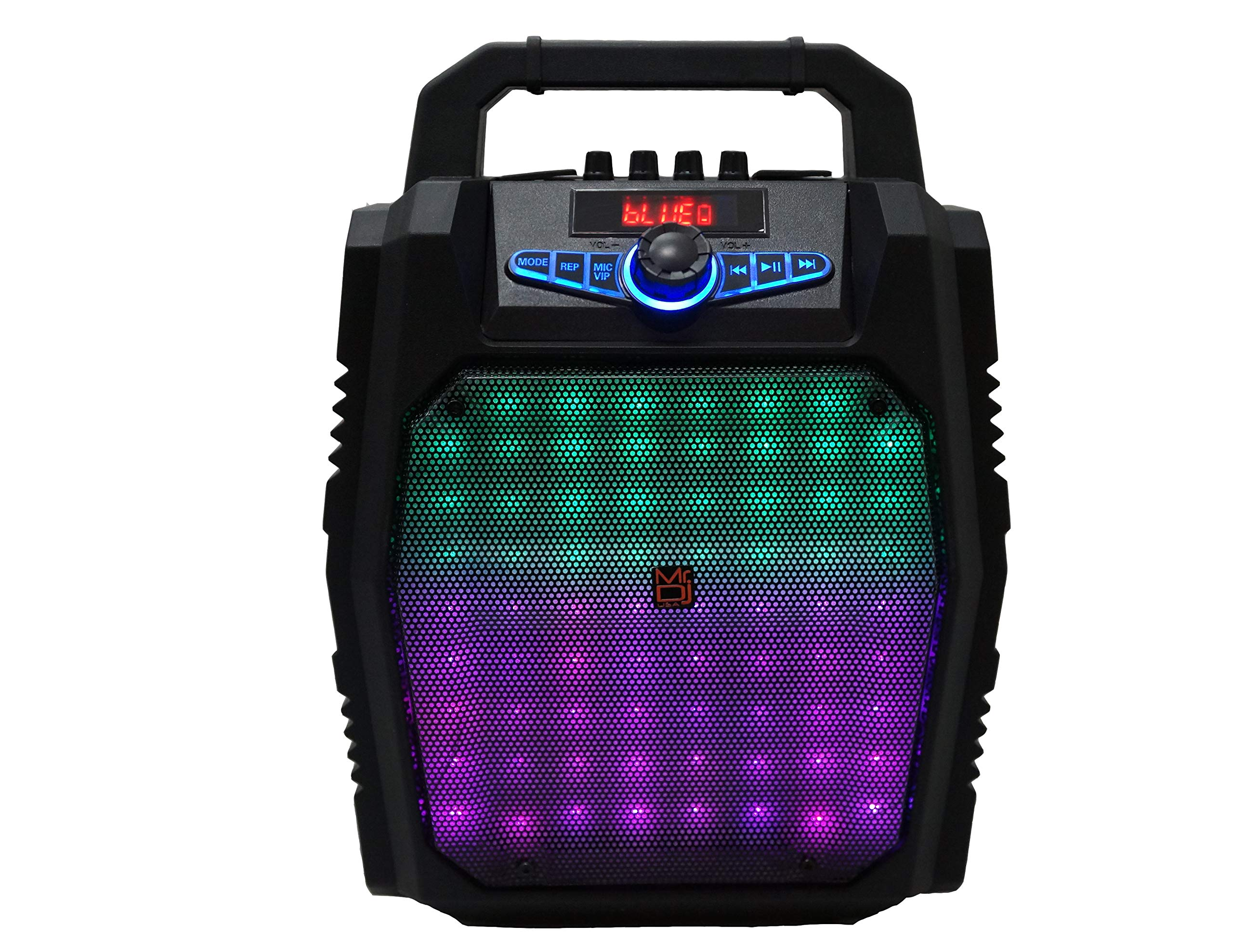 Mr. Dj Rock 8'' Portable Speaker Buitl-in Bluetooth, FM Radio, USB/Micro SD Card, Rechargeable Battery & LED Party Light, 1000W P.M.P.O