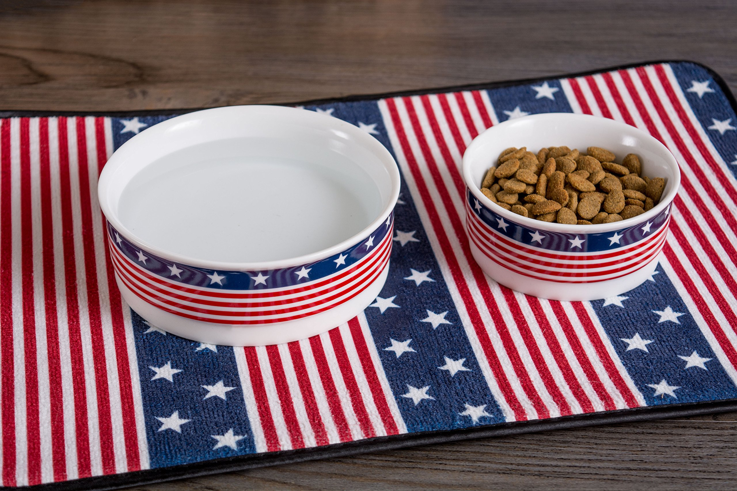 Bone Dry DII Patriotic Ceramic Pet Bowl for Food & Water with Non-Skid Silicone Rim for Dogs and Cats (Large - 7.5'' Dia x 4'' H) Stars and Stripes by Bone Dry (Image #4)