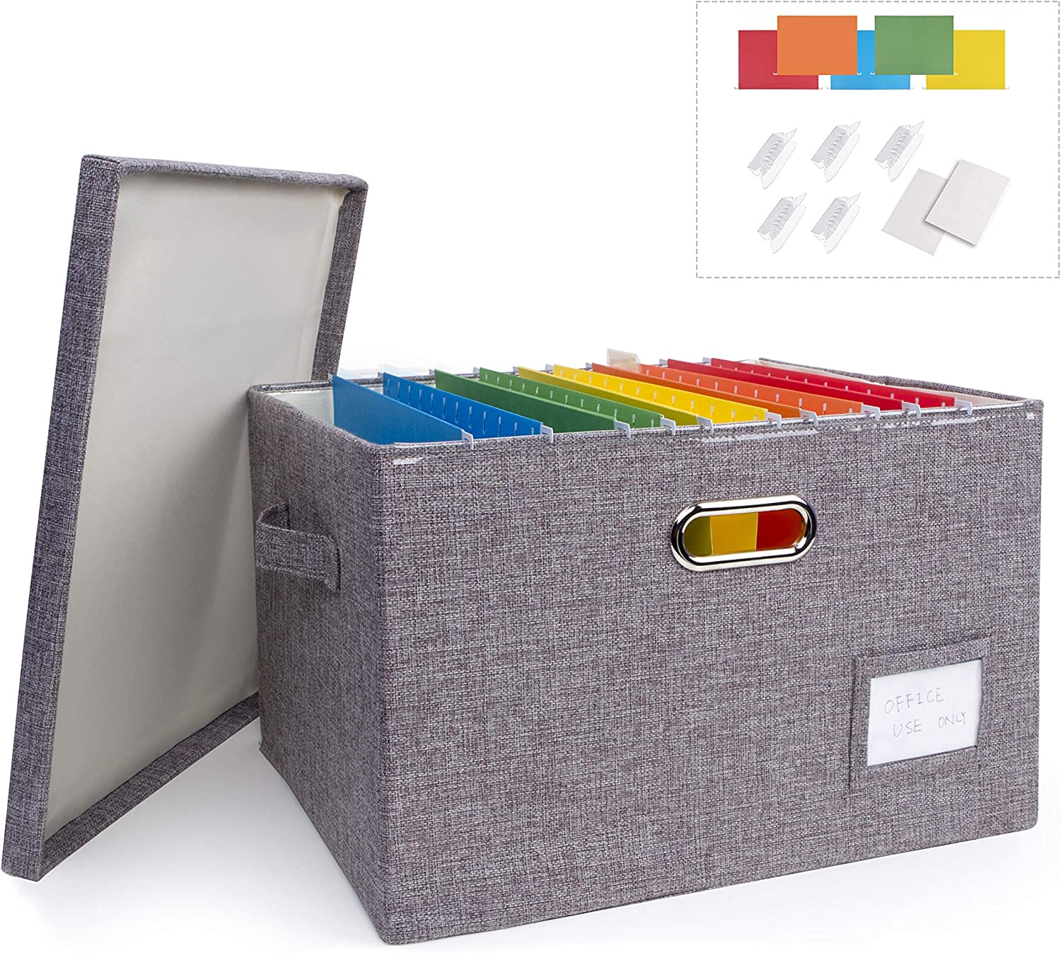 Collapsible Linen File Organizer Box, Easy to Slide File Folders, Compatible with Letter/Legal Hanging Filing Organization,Durable File Storage Organizer for Office Work/Home/Decor (Gray, 1 Pack)