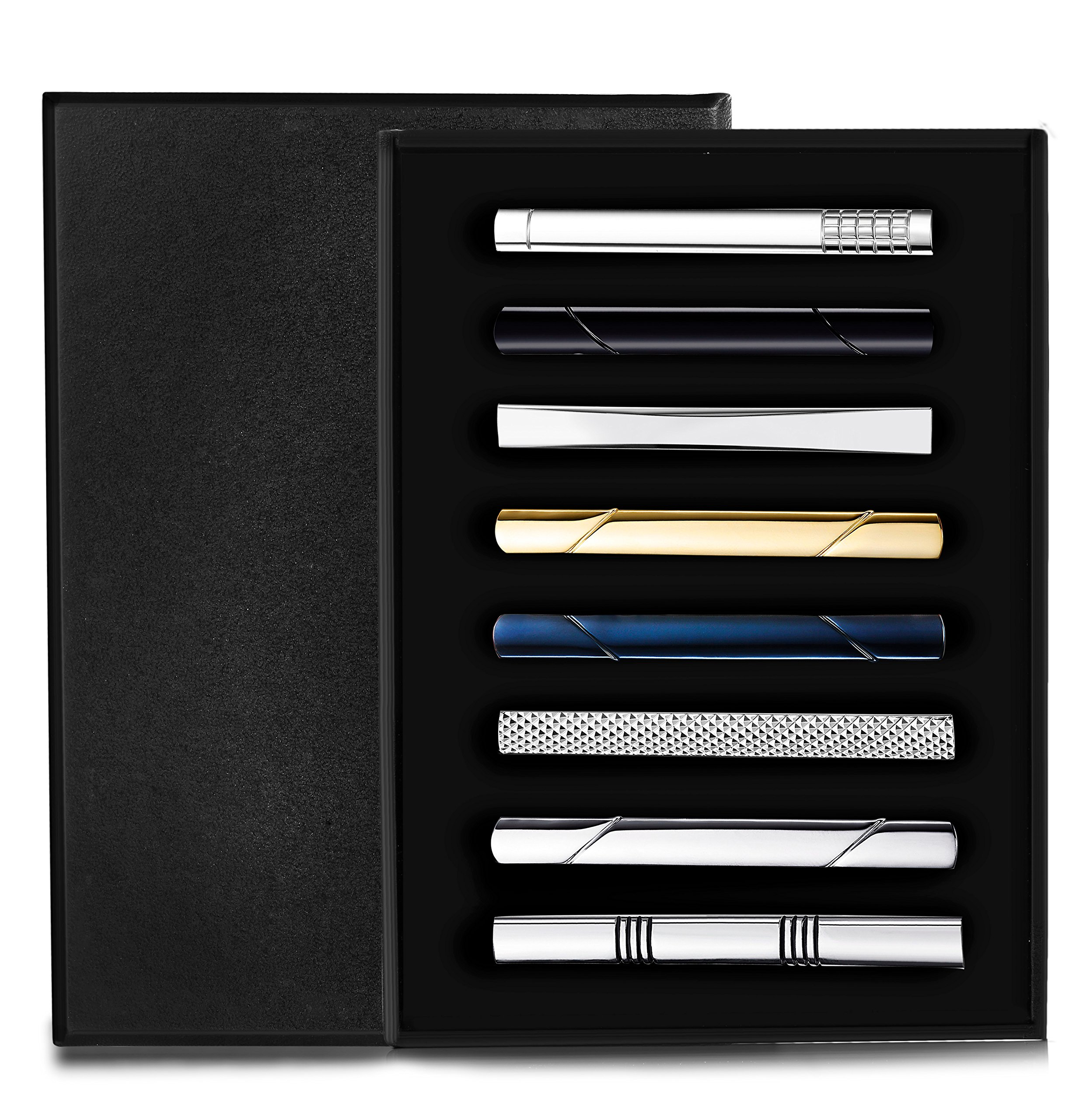 Jstyle 8 Pcs Tie Clips Set for Men Tie Bar Clip Set for Regular Ties Necktie Wedding Business Clips with Box A