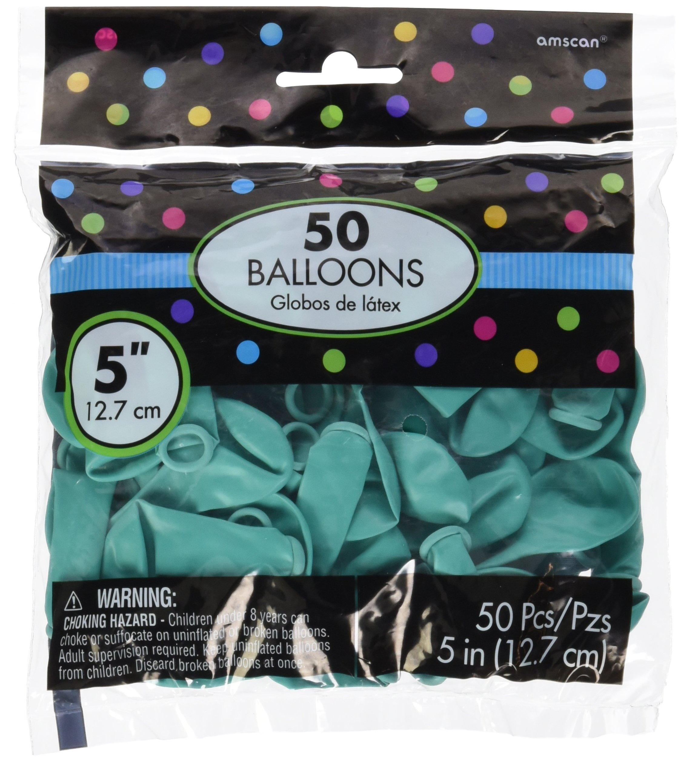 Chirpy Latex Balloons, Saver Pack Of 12 (Each Includes 50 Pieces),  Latex, Robin s-egg Blue, 5'' by Amscan