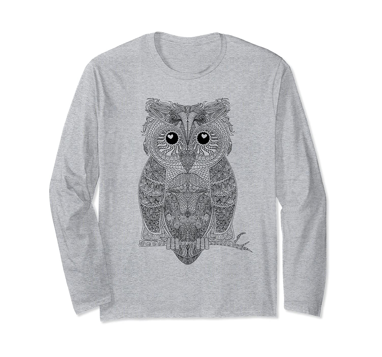 Artsy Artistic Style Design of Owl Long Sleeve T-Shirt-mt