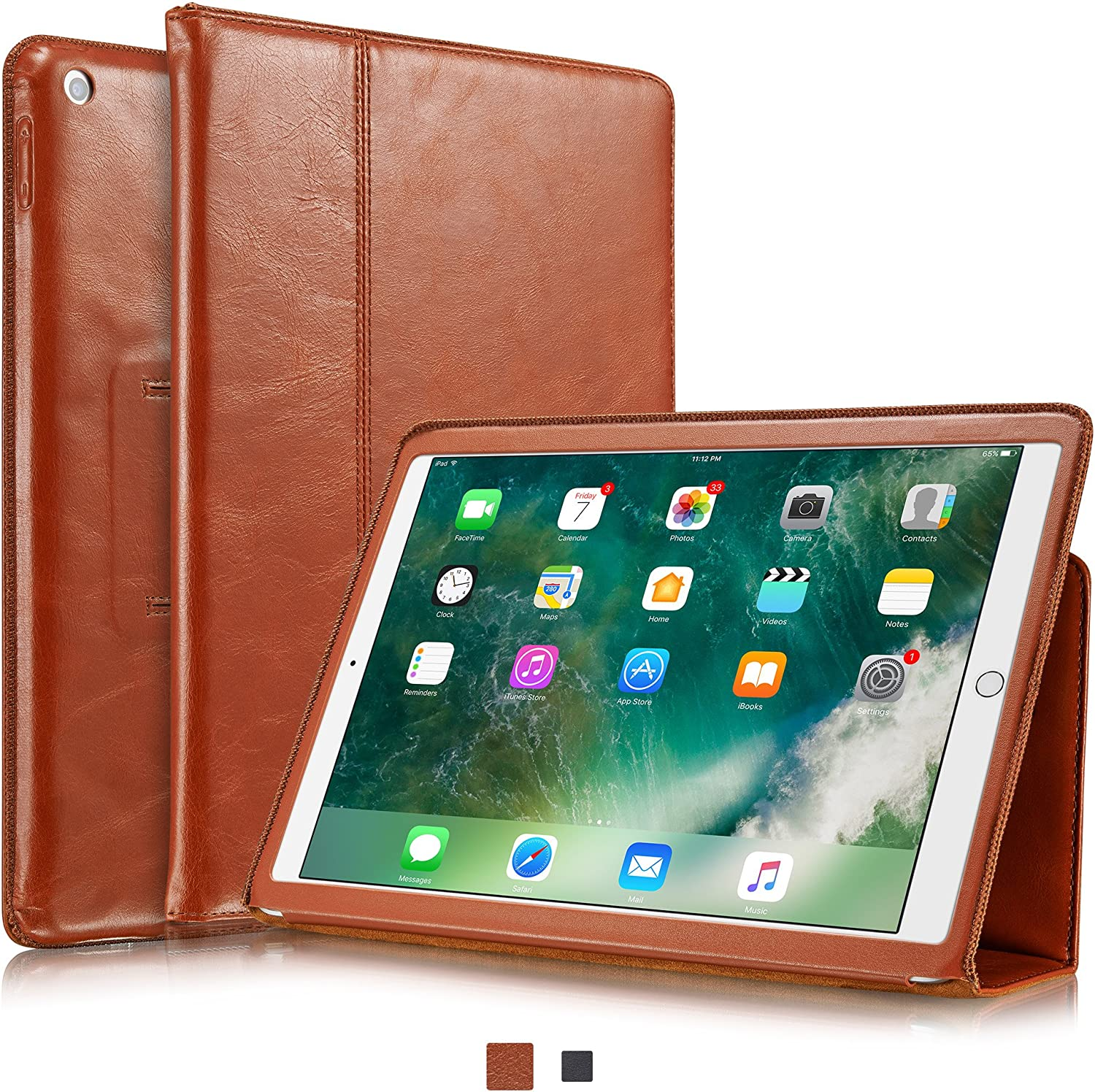 """KAVAJ Case Leather Cover Berlin Works with Apple iPad 2020/2019 (8&7th Gen.) 10.2"""" Cognac-Brown Genuine Cowhide Leather with Built-in Stand Auto Wake/Sleep Function. Slim Fit Smart Folio Covers"""