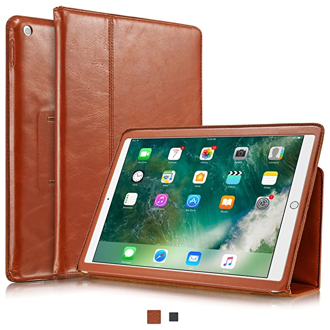 size 40 ca6f1 5d6e1 KAVAJ New iPad Case 2018/2017 Leather Cover Berlin for Apple iPad 6th & 5th  Gen. Cognac-Brown Genuine Cowhide Leather with Built-in Stand Auto ...
