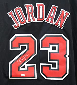 06f76d9b2 ... good michael jordan chicago bulls signed autographed short sleeve black  23 jersey 45aa8 06a1a