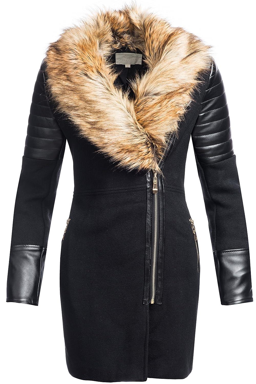 Winterjacke | Wintermantel | Wollmantel für Damen Modell 1603-1B - eleganter Woll-Mantel mit angesagtem Materialmix aus Kunst- Leder und Wolle ideal für den Übergang Herbst / Winter