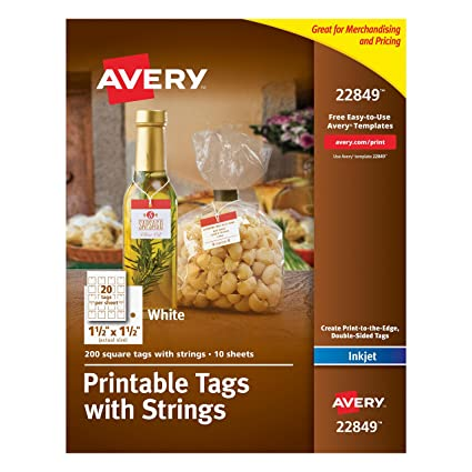 avery printable tags with strings white 15 x 15 inches pack of 200