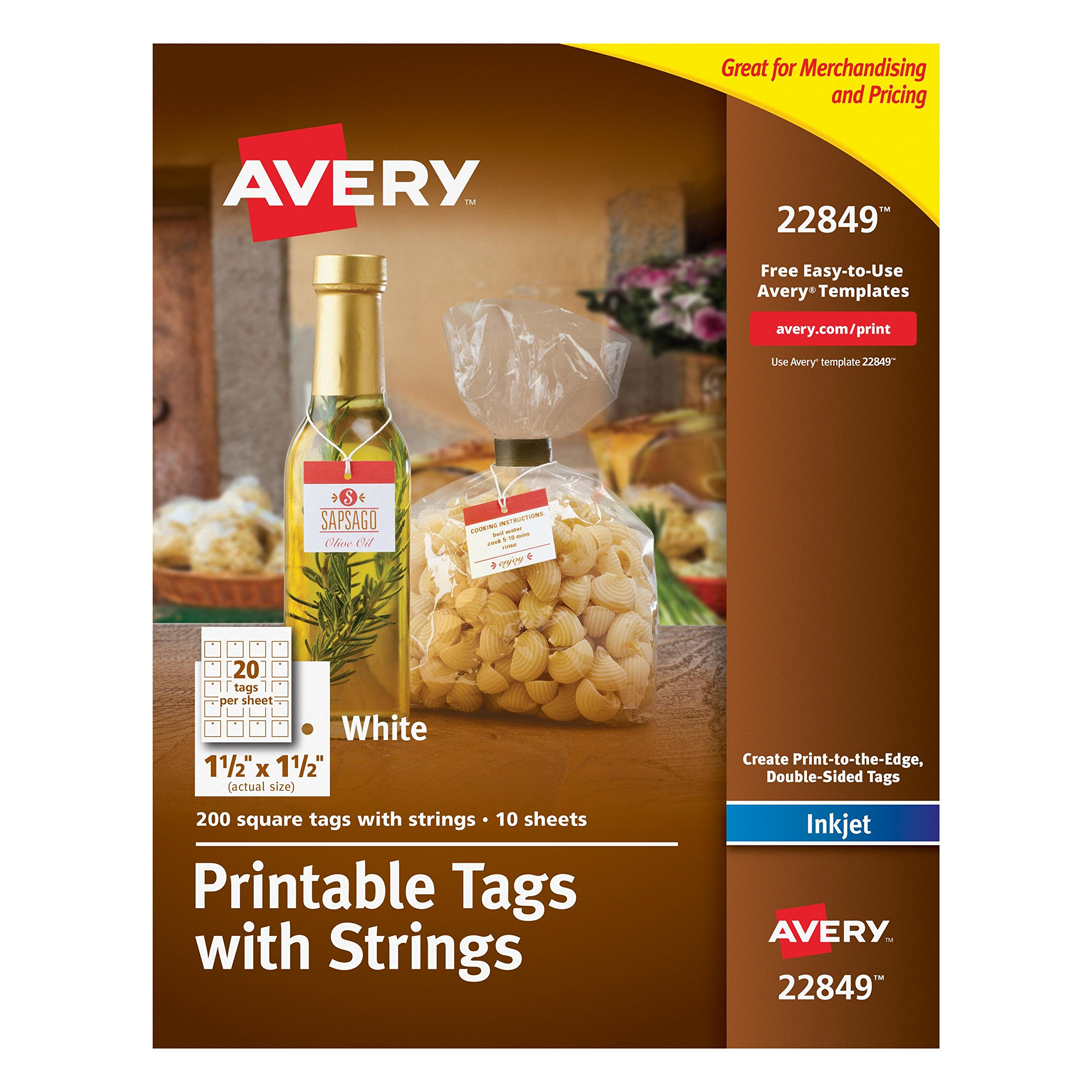 Avery Printable Tags with Strings, White, 1.5 x 1.5 Inches, Pack of 200 (22849)