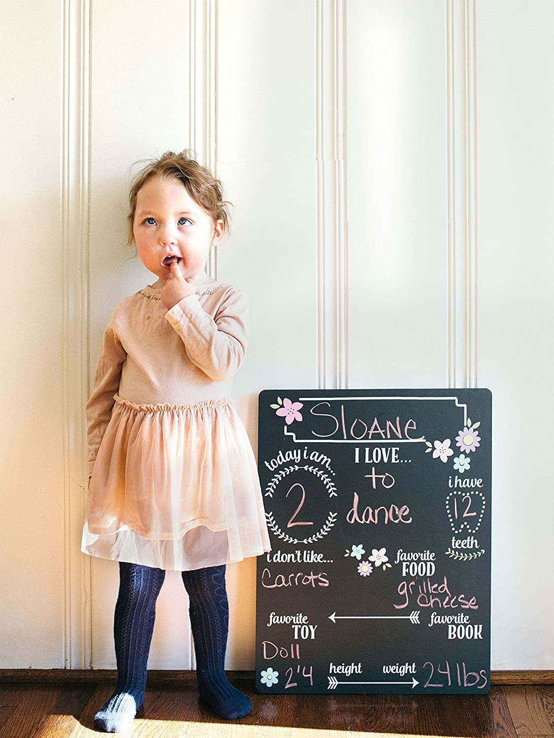 40a2377cdc71 Amazon.com : Tiny Ideas Baby's Monthly Milestone Chalkboard, Great Baby Girl  Gift, Black : Baby