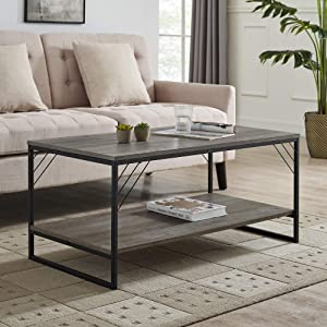 Walker Edison Modern Metal and Wood Corner Rectangle Coffee Table Living Room Ottoman Storage Shelf, 40 Inch, Grey Wash