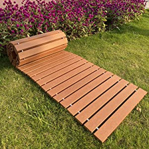 "I FRMMY Outdoor Weather Resistant Straight Pathway for Garden Walkway, Made of PS Wood (8'L x 18"" W)"