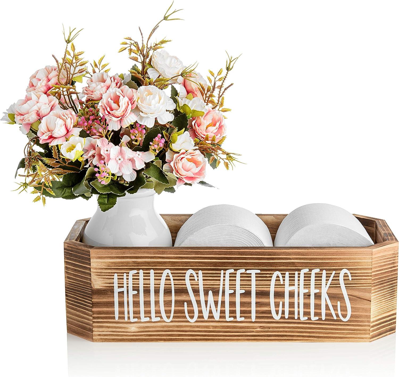 Hello Sweet Cheeks Bathroom Box - Cute Bathroom Decor for Back of Toilet Storage - Toilet Decor Shaped to Fit Toilet Tank - Bathroom Decor Box Toilet Organizer - Torched Cedar - Warm Your Home
