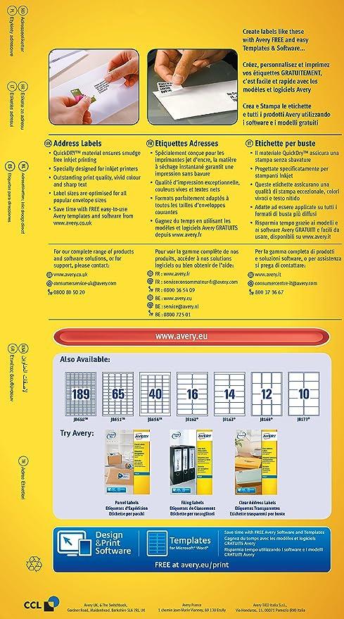 Avery J8160 10 Self Adhesive Addressmailing Labels 21 Labels Per