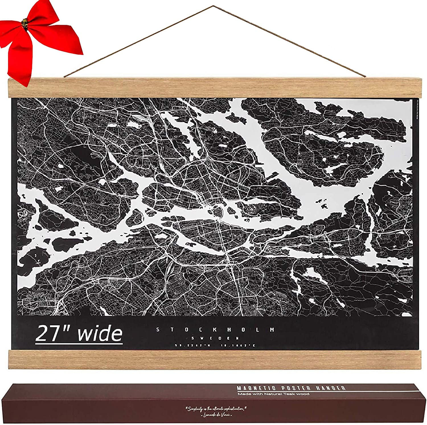 """27 Inch Wide Magnetic Poster Hanger Frame - 27x40 27x41 Wood Poster Frame for Picture Map Print Canvas Scroll Wall Art Wooden Hanging Kit (27"""", Teak)"""