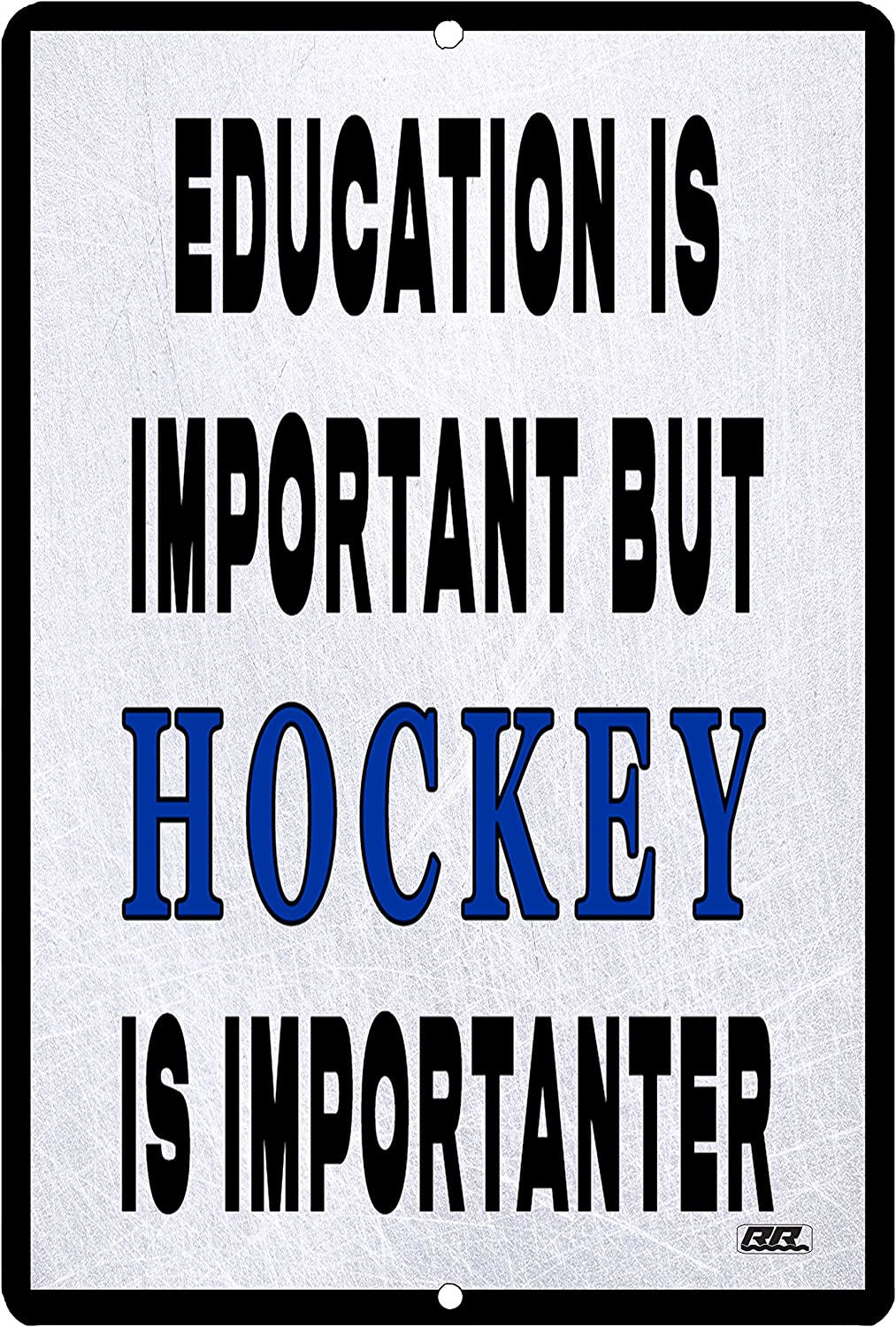 Rogue River Tactical Funny Hockey Player Metal Tin Sign Wall Decor Man Cave Bar Education is Important Puck