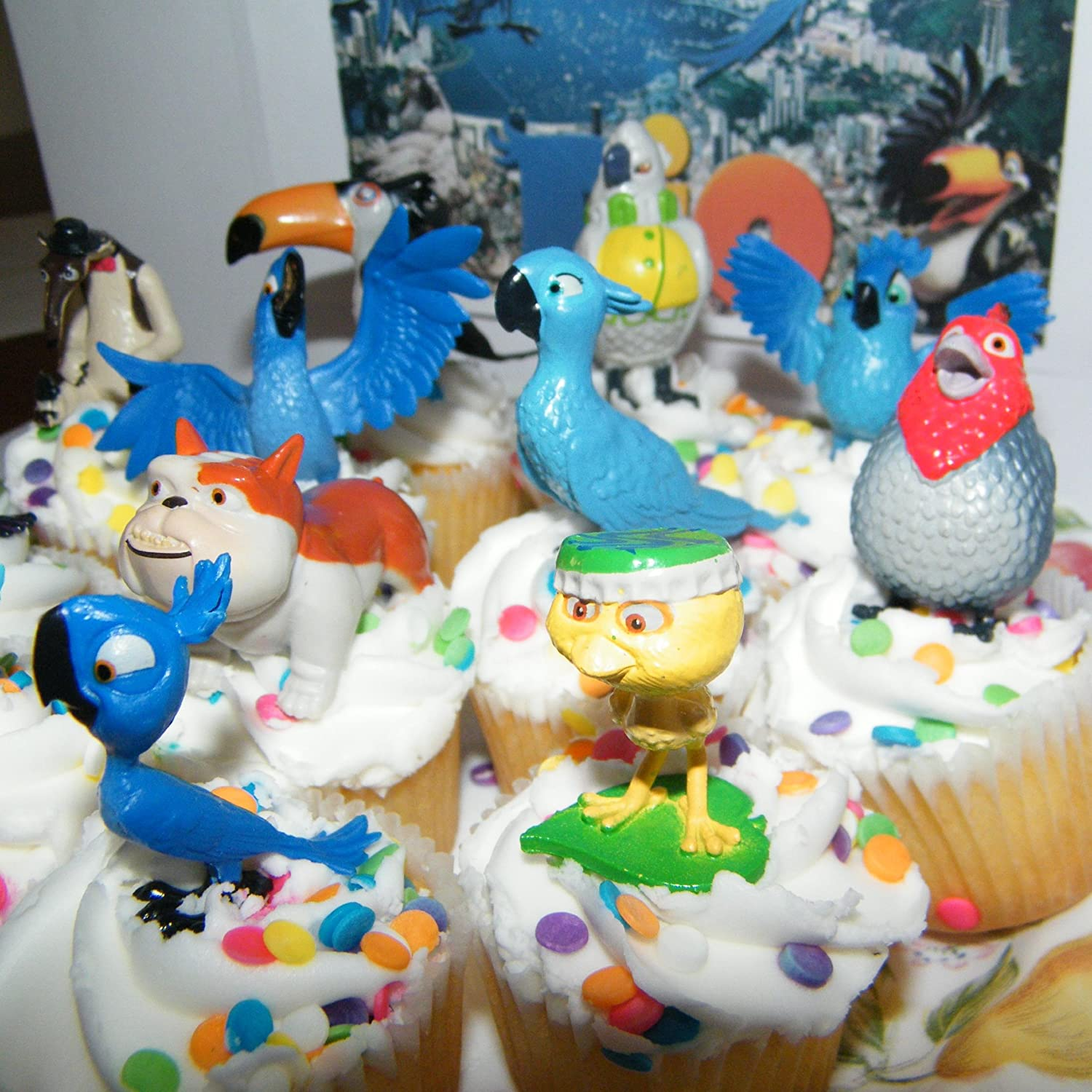 Amazon Rio Movie Set of Bird Figure Cake Toppers Cupcake