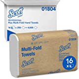 Scott Essential Multifold Paper Towels (01804) with Fast-Drying Absorbency Pockets, White, 16 Packs/Case, 250 Multifold Towel