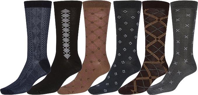 Sakkas Mens Pattern Dress Socks Value Assorted 6-Pack