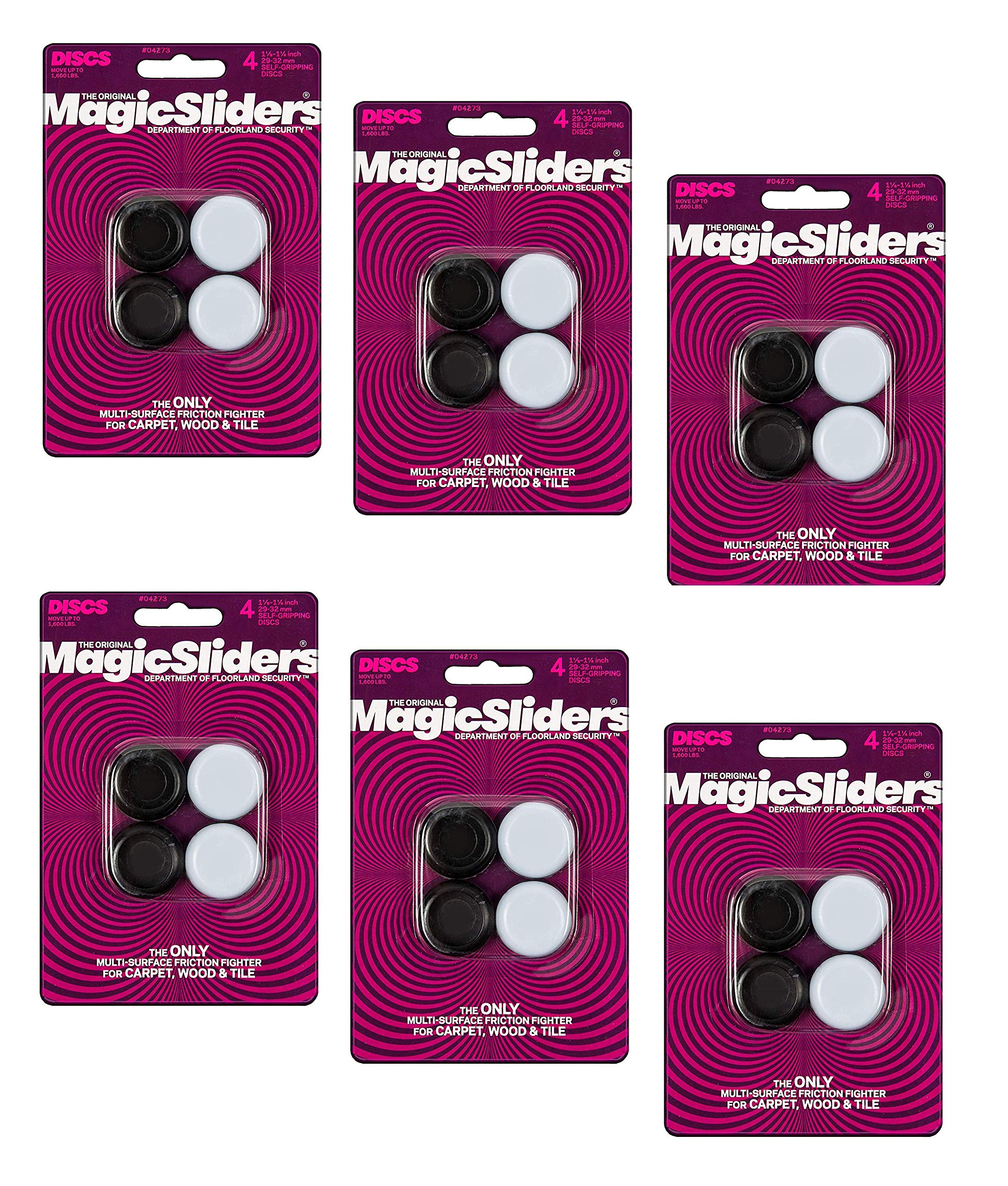 MAGIC SLIDERS L P 4273 1-1/4'' RND Slider, Sold as 6 Pack, 24 Count Total
