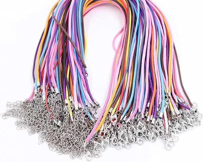 Collar de cuerda de cera marr/ón 10pcs Collar ajustable Cuerda de cera Cuerda Cuerda para DIY Hacer joyer/ía con galvanoplastia Garra de langosta corchete
