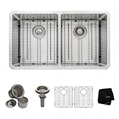 KRAUS KHU102-33 33-Inch Undermount 50/50 Double Bowl Kitchen Sink