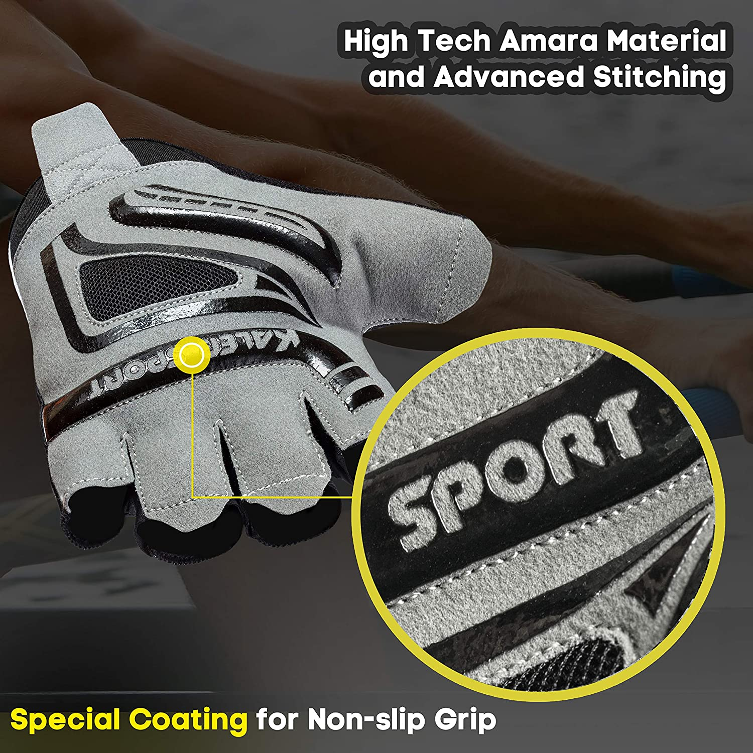 Great for Rowing Cycling Kaleb Sport Universal Gloves with Special Rubber Coating for Non-Slip Grip Gym Workout Improved Ventilation Suitable for Both Men /& Women